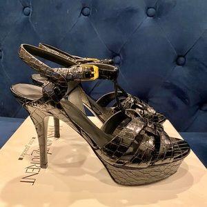 YSL Tribute T-Strap Platform Sandal.Patent Leather